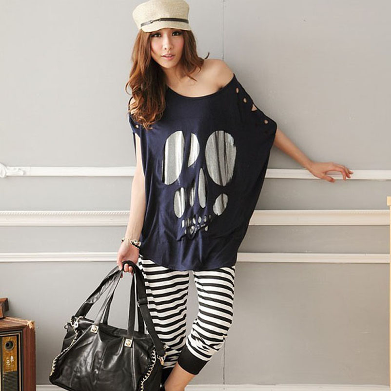 Ladies-Batwing-Short-Sleeve-Skull-Print-font-b-Women-b-font-Casual-Loose-font-b-Oversized